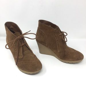 MIA Raphaella Genuine Suede Ankle Boot Wedges 7.5